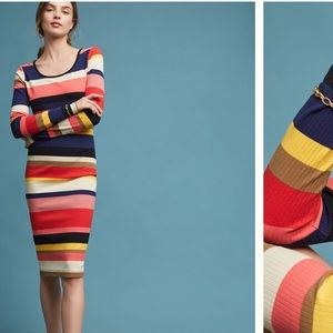 Anthropologie Vivid Stripe Column Dress Size XL